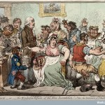 "V0011069 Edward Jenner vaccinating patients against smallpox Credit: Wellcome Library, London. Wellcome Images images@wellcome.ac.uk http://wellcomeimages.org Caricature of Edward Jenner inoculating patients in the Smallpox and Inoculation Hospital at St. Pancras. The patients are shown growing cow heads from parts of their anatomy following the vaccination. There is a print of the golden calf on the wall behind them. Patients are spoon-fed ""opening mixture"" as they come through the door. A boy standing next to Jenner is holding his pot labelled ""vaccine pock hot from ye cow"", on his jacket is a badge saying ""Pancras"" and in his pocket a paper entitled ""Benefits of the vaccine process"". Lettering: The cow-pock - or - the wonderful effects of the new inoculation! - Vide, the publications of ye anti-vaccine society. Js. Gillray Coloured etching 1802 By: James GillrayPublished: 12 June 1802. Copyrighted work available under Creative Commons Attribution only licence CC BY 4.0 http://creativecommons.org/licenses/by/4.0/"