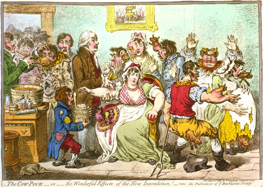 James Gillray, The Cow-Pock – or – the Wonderful Effects of the New Inoculation!, 1802. (Public domain. Original source.)